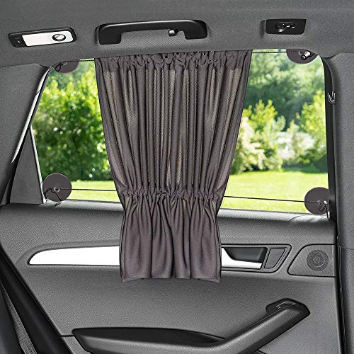 Zamboo Sonnenschutz Auto mit Vorhang-Funktion für einfaches Auf- und Zuziehen - Baby UV-Schutz Hitzeschutz & zum Abdunkeln - XXL 68 x 50 cm - auch für große Seitenscheiben - Dunkelgrau (Einzel)