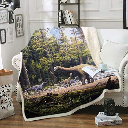 WARMBERL New Dinosaur Family Hooded Throw Velet Blanket For Kids Jurassic Dinosaur Sherpa Fleece Blanket Microfiber Fabic Blanket 59X79in
