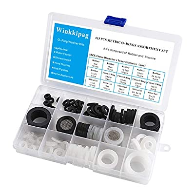 WINKKIPAG 115 Pcs Flat Washer,Silicone and Nitrile Rubber Combination Kit, Used for Faucet,Shower Head, Garden Hoses, Reusable Flat Washer O Rings