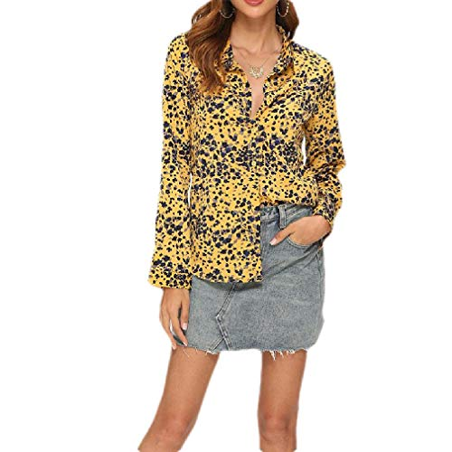 H&E Women's Tie Dye Plus Size Long Sleeve Button Down Loose Shirt with Pockets Yellow US M