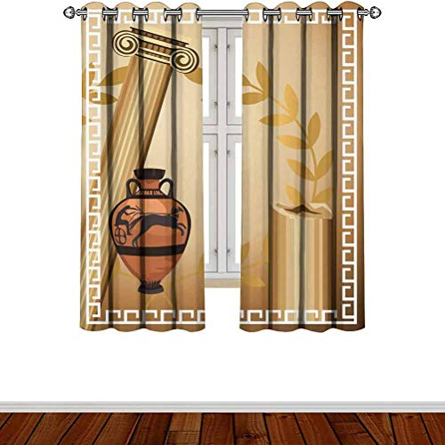 """Becanbe W 66"""" x L 90"""",for Patio Glass Doors and Windows,Toga Party,Antique Greek Columns Vase Olive Branch Hellenic Heritage Icons,Light Brown Cinnamon White"""