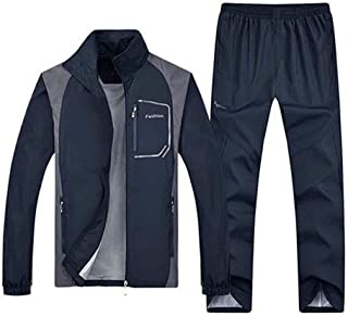 TOP Fighting Men's Casual Tracksuit Long Sleeve Full-Zip Running Jogging Sports Jacket and Pants