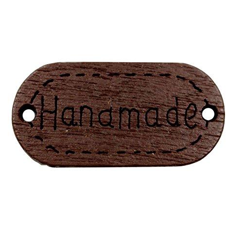 Bodhi200 0 botones, 50 botones hechos a mano con impresión de letras de madera, para costura, álbumes de recortes, manualidades, manualidades, decoración de bricolaje, color marrón