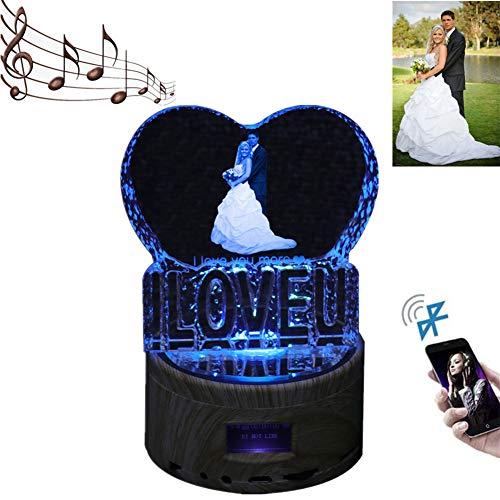 Personalisierte Bluetooth Musik Licht Custom Foto 3D Nachtlicht Kristall Lampe Weihnachten Geburtstagsgeschenk(I LOVE U 5.6 ''X3.5 ''IN)