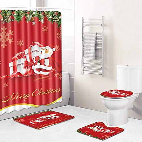 Ginsenget 16-Piece Curtain Waterproof Mould Proof Resistant Bathroom Curtain Washable Anti Slip Bathroom Rugs Set Pedestal Rug+Lid Toilet Cover with 12 Hooks,Christmas