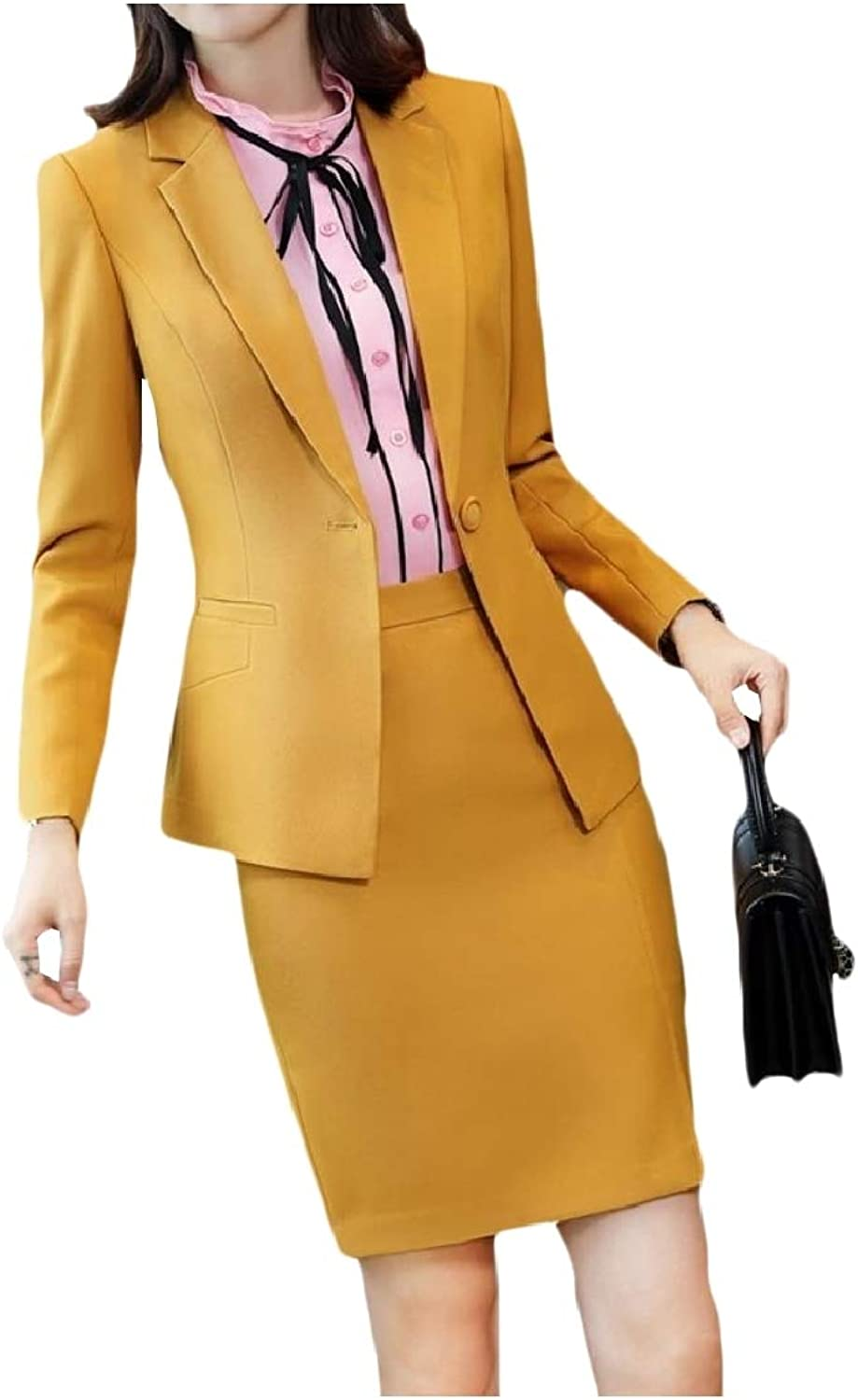 Freely Womens 1 Button Business Long Sleeve Office Jacket Skirt Suit Set