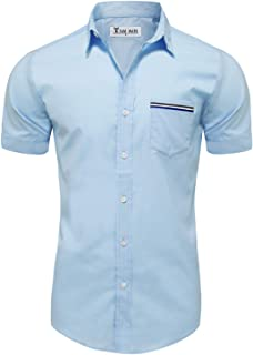 Mens Casual Chest Pocket Short Sleeve Winkle Free Button Down Shirts