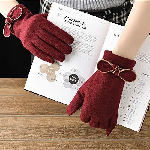 Dealnt Ridding Glove Vollfinger Wolle gestrickt Fäustlinge Touch Screen Fahren Laufhandschuhe Outdoor-Sport-Mann-starker Warmer Fäustling for Frauen Winter Plus Futter (Color : Wine red)