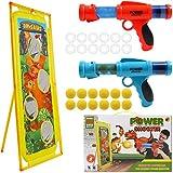 DigHealth 2 Piezas Lanzador Pelotas Espuma y Objetivo de Tiro Dinosaurio, Pistola Juguete con Bolas de Espuma y Bolas Luminosas, Pistola Blaster para Niños de 3-10 Años Regalos de Cumpleaños