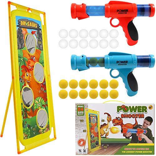 DigHealth 2 Pezzi Pistola Giocattolo e Bersaglio di Tiro Dinosauri, Giocattolo di Tiro Bambini con Palline di Spugna Morbide e Sfere Luminose Plastica per Regali Bambini di 3-10 Anni