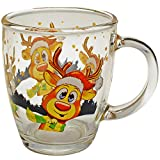 alles-meine.de GmbH 4 Stück _ Glas Henkeltassen / Kaffeetassen / Teetassen - süßes Rentier - Weihnachten - groß - 350 ml - Weihnachtstassen / Glühweintassen - Trinktassen mit Hen..