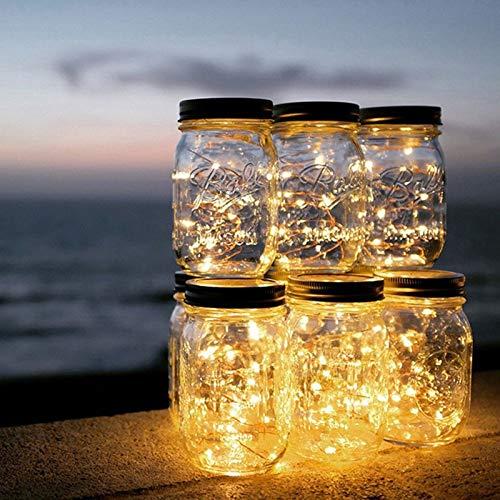 Cubierta de tarro de vidrio Luz solar Jardín Paneles solares Lámpara de noche Luces de cadena de cobre a prueba de agua Chritmas Decoración Luz de noche for niños (Color : Yellow)
