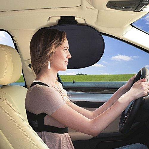 WANPOOL - Parasol para ventanilla de coche, protector solar, ideal para fijar en la agarradera del techo del automóvil, bloqueo de la luz solar, para niños y adultos, color plateado