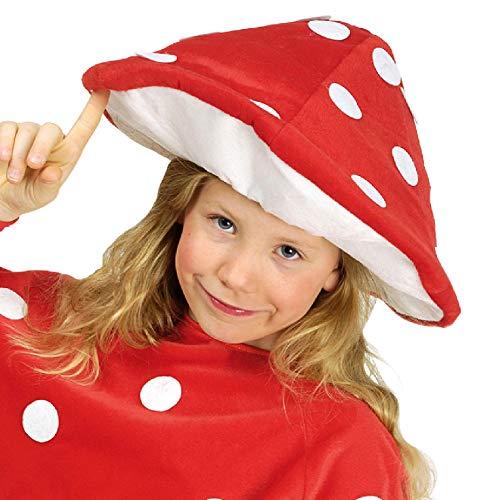 narrenkiste K10250418 - Sombrero de seta para nia, color rojo y blanco