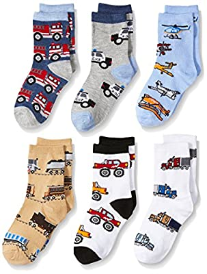 Jefferies Socks Boys' Little Trains/Trucks/Cars Pattern Crew Socks 6 Pack, Multi
