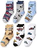 Jefferies Socks Little Boys Trains Trucks Cars Pattern Crew Socks 6 Pack, Multi, Small