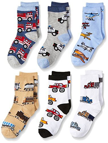 Jefferies Socks Boys' Little Trains/trucks/cars Pattern Crew Socks 6 Pack, Multi, Small