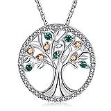 MEGA CREATIVE JEWELRY Collar Árbol de la Vida para Mujer Plata 925 con Cristales