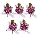Bride Corsage - Wedding Party Decor Simulation Boutonniere Groom Bride Chest Flower Corsage for Ceremony(Viola chiaro)