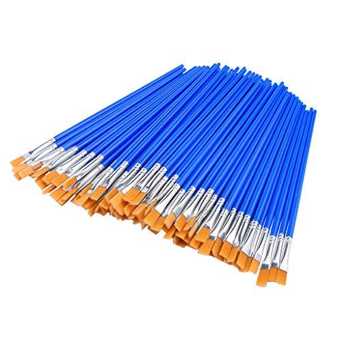 Voberry New 50 Stück Flache Pinsel, kleine Pinselmasse für Detailmalerei, Plastikstange Nylon Haar Flat Pen Kinderbürste