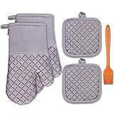 Set da cucina con guanti e presine in cotone 5pcs, 500 ℉ di Guanti da Forno Resistenti al Calore con un Silicone Pennelli da cucina per Cucinare, Cuocere al Forno, Grigliare