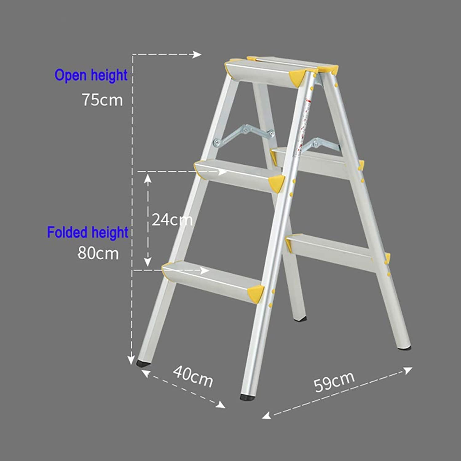 ZLL Household Step Stool, Photography Folding Step Stool, Step Stools Folding Step Stool, Adult Step Ladders for 220-330Lbs Capacity, Office Anti-Rust 3 Steps with Wide Pedal & Anti-Slip Footpad