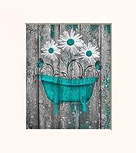 Teal Bathroom Wall Art, Farmhouse Bathroom Decor, Photography Matted 5x7, 8x10, 11x14, Daisy Flowers, Butterflies Rustic Home Decor Picture