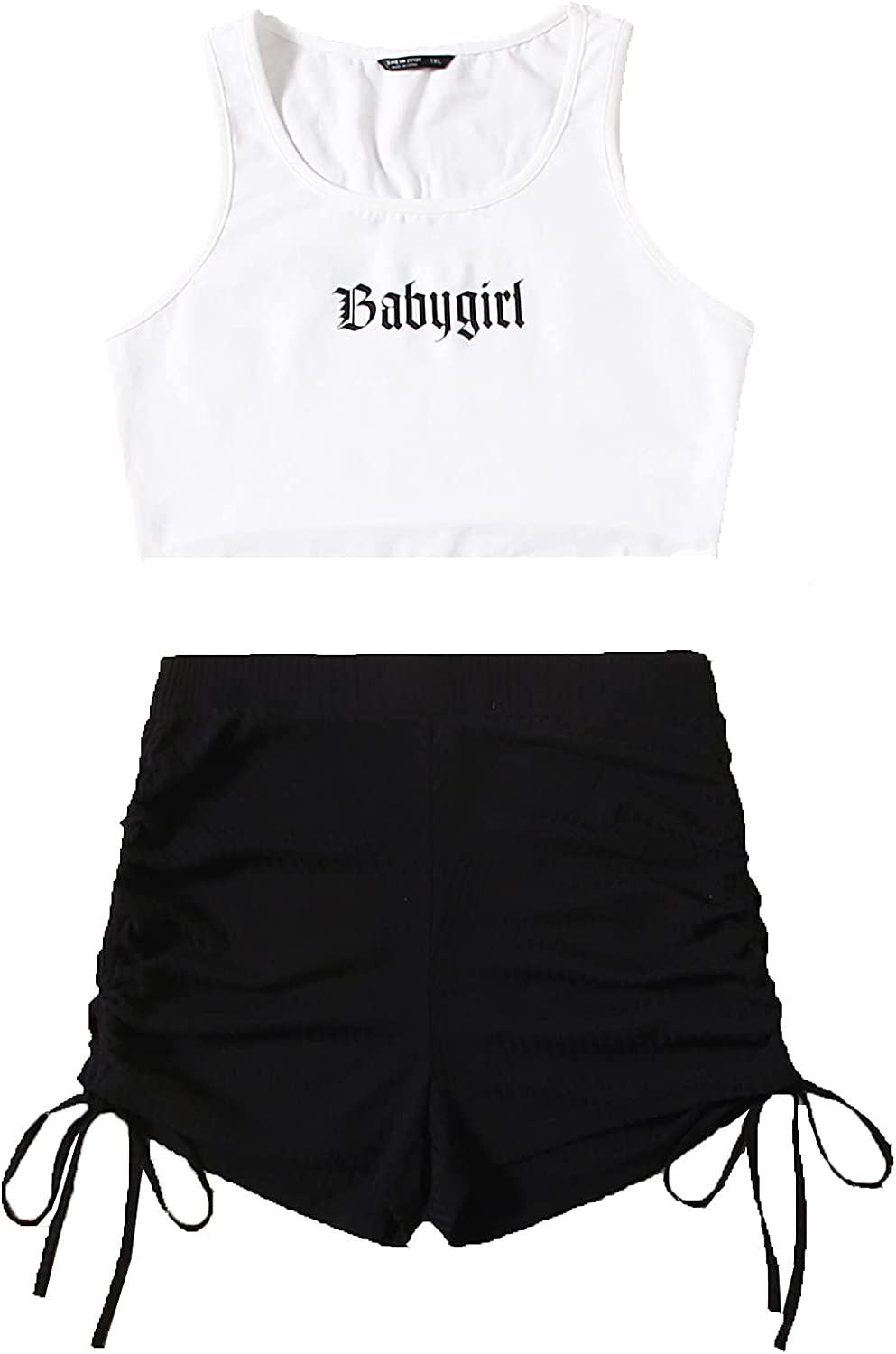 SweatyRocks Women's Plus Size Letter Graphic Tank Top and Ruched Drawstring Shorts Set