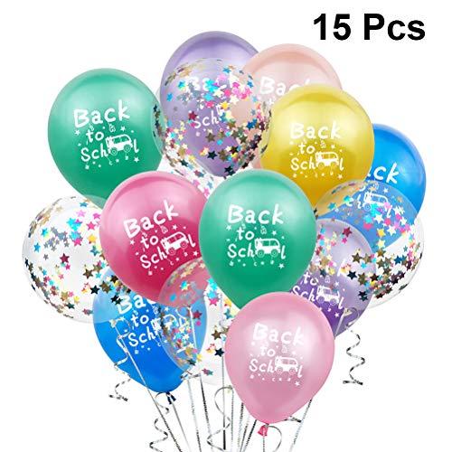 Amosfun 15 stks Terug naar School Latex Ballon Welkom Terug naar School Ballonnen Eerste Dag van de School Teken 1e Kleuterschool Photo Prop voor Klas Welkom Leraar Student Party Supplies