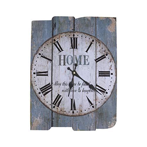 IMIKEYA - Reloj de pared cuadrado rústico de madera, con números romanos y números romanos