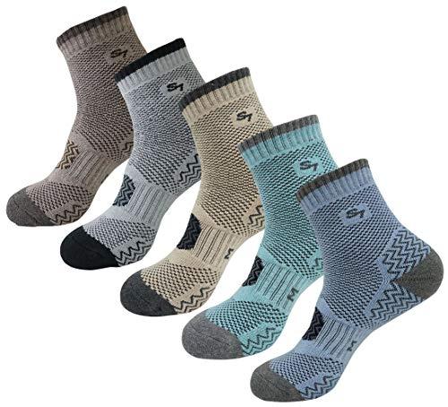 SEOULSTORY7 5pack Men's Full Cushion Mid Quarter Length Hiking Socks 5Pair Brown/Gray/Mint/Light Blue/Beige L3