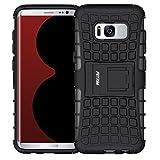 Fetrim Funda Galaxy S8 Soporte Cáscara Cases Delgada de Golpes Doble Capa de Tough TPU plastico Anti Arañazos de Protectora para Samsung Galaxy S8 - Negro