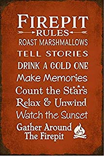 Uptell Tin Sign-Metal Sign Custom Personalized Firepit Rules 12X16 Inches Man Cave Chic Wall Decor Retro Metal Funny Living Room Poster