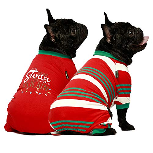 Fitwarm Dear Santa I Can Explain 2-Pack 100% Cotton Dog Christmas Pajamas for Pet Clothes Doggie Holiday Costumes Onesies Puppy Jammies XL