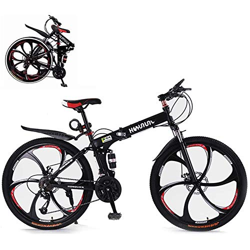 ZFAME Bicicleta de montaña, 26 Pulgadas de Acero al Carbono 21 Alta Velocidad Bicicleta Plegable Doble Bastidor de suspensión Bicicletas de montaña para Hombres y Mujeres Adultos