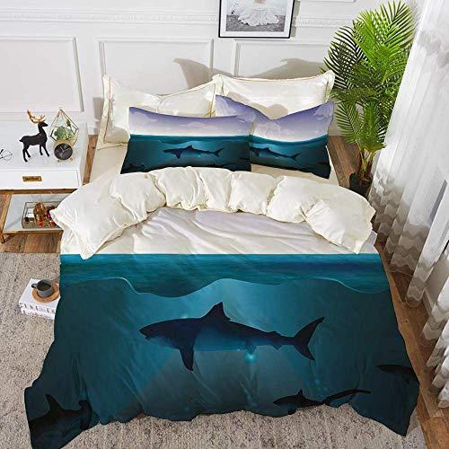 ropa de cama - Juego de funda nórdica, submarino, tiburones salvajes nadando en el mar Océano Atlántico Peace Clouds Diseño marino, violeta, funda de edredón de microfibra hipoalergénica con 2 funda d
