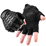 YOSUNPING Tactical Rubber Fingerless Gloves Protection Guard for Motorcycle Cycling ATV Bike Motorbike Hunting Hiking Airsoft Paintball Riding Driving Work Outdoor Gear Black L
