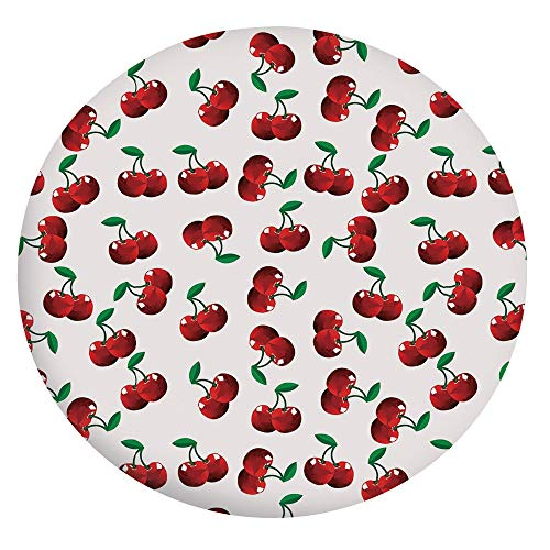 Elastic Edged Polyester Fitted Tablecloth,Vibrant Cherries Vitamin Agriculture Exotic Summer Garden Pattern Tablecloth,Fits Round Tables 45-48',for Holiday Home Christmas Party Picnic Ruby Hunter Gree