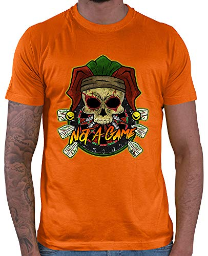 HARIZ Herren T-Shirt Not A Game Totenkopf Hut Dart Sprüche Dartscheibe Sport Fun Trikot Plus Geschenkkarte Orange M
