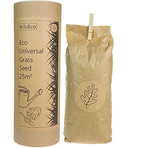 ♻️ BeEco Öko-Grassamen | Universelle Mischung Rasensamen Schnellkeimend 25m² | Perfekt für die Rasensaat Nachsaat | 100{9fa73bac6cc6fbda9bd8e4f87e7c544e4872d550bdd972c680967f48511d92bc} Recyclebar in Einer Pappröhre | Grassamen ohne Pestizide angebaut