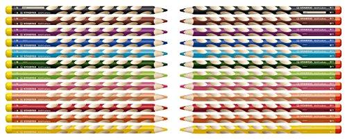 STABILO EASYcolors START – Lápiz de color ergonómico – Modelo para ZURDOS – Estuche con 12 colores y 1 sacapuntas