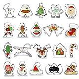 Okaytec Tagliabiscotti Natalizi Set - 20 pz Formine Biscotti a Tema Natalizio con Forma di Babbo Natale & Slitta & Alce & Fiocco di Neve ECC - Stampini per Biscotti in Acciaio Inox per Natale