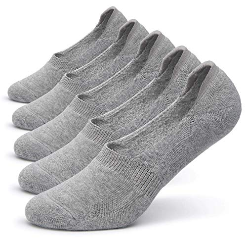 Pareberry Women's Thick Cushion Cotton Athletics Casual Low Cut Flat Non-Slip Boat Liner No Show Socks-5/10 Pack (Women's Shoe Size(5-8.5), Light Gray)