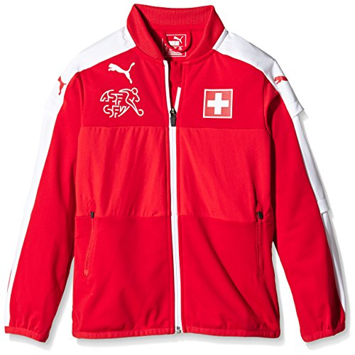 PUMA Kinder Jacke Suisse Stadium Jacket, Red/White, 128