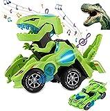 Sunnhan Transforming Toys, 2 in 1 Transforming Dinosaur LED Car Dinosaur Transform Car Toy Automatic Dinosaur Dino Transformer Toy Car Lamps for Kids,Toddlers ( Ages 3-12, Green)