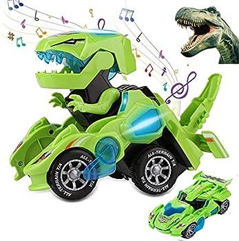 Sunnhan Transforming Toys 2 in 1 Transforming Dinosaur LED Car Dinosaur Transform Car Toy Automatic Dinosaur Dino Transformer Toy Car Lamps for Kids,Toddlers   Ages 3-12 Green
