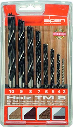 Bohrer / Holzbohrer Set TM 8, 8-tlg. | CV / HSS Maschinenbohrer sind hitzebeständig bis 250°C, die Spiralbohrer sind geeignet zum Bohren von Weich- und Harthölzern, punktgenau | Ø 3 – 10 mm