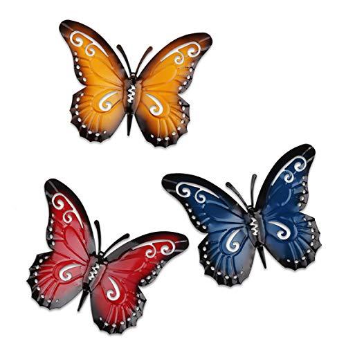 YiYa Farfalla di Metallo Un Gruppo di 3 Insetti Colorati Carini per Decorazione di Arte della Parete Decorazione del Prato Inglese Scultura da Parete Interna ed Esterna