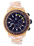 Techno Com Stainless Steel 4.5 CTW Color Black Opaque Diamond Chronograph Men Watch.