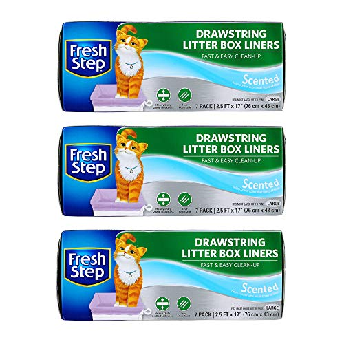 Fresh Step Drawstring Large Litter Box Liners   Heavy Duty Liners for Cat Litter Box   Scented & Unscented Available   Quick & Easy Cleanup, Scented, Large - 3 Pack